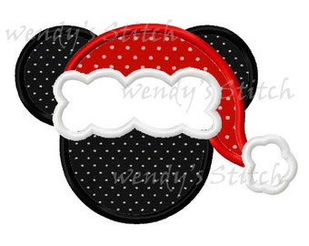 Christmas mouse with santa hat machine embroidery design applique