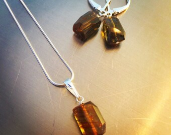 Natural Andalusite Pendant and Earrings