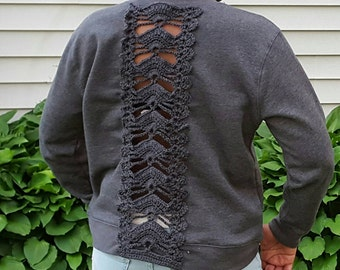 Crochet Inlay Sweatshirt - Back