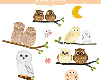 ON SALE Owls clip art, owl on the branch , cute owls, owl clip art, printable, scrapbooking, instant download