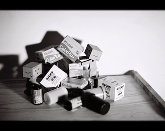 Danbo Film Construction - Fun Black and White Photography Print