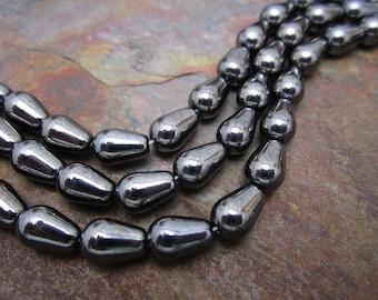 Metallic Shadow Czech Glass Tear Drops