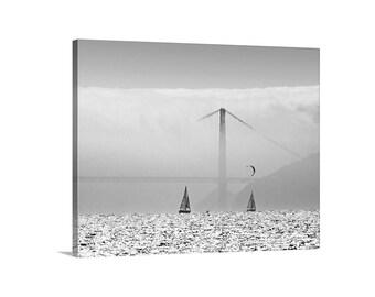 Kitesurf Picture, Sailing Photograph, Sailing Art, San Francisco Bay, Black and White Golden Gate Bridge Art, Bay Area Photo, Bay Area Gift