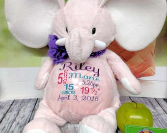 """Elephant PINK 16"""" customized & personalized plush plushie stuffed stuffie animal embroidered gift. baby, christening, special event, holiday"""