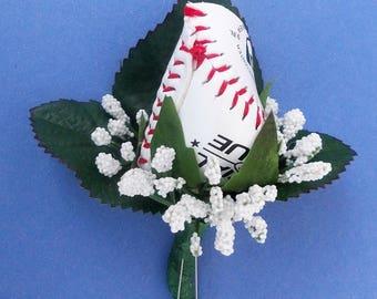 """Baseball """"Rosebud"""" Boutonniere"""