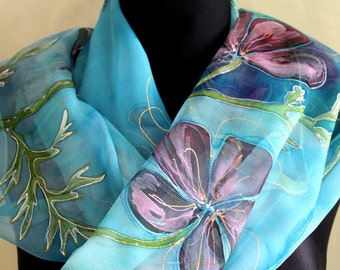 Turquoise Silk Chiffon Scarf for Ladies. Hand Painted Poppies Scarf. Light purple poppies. Long Blue Chiffon Shawl 18x71 in. Art Silk Scarf.