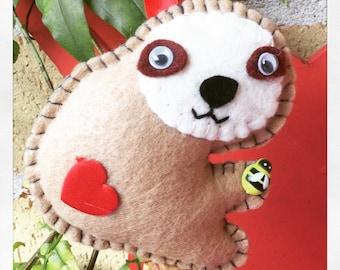 Sloth keyring Handmade Hanging cute sloth felt keychain with fabric heart on his bottom Felt sloth Sloth accessory
