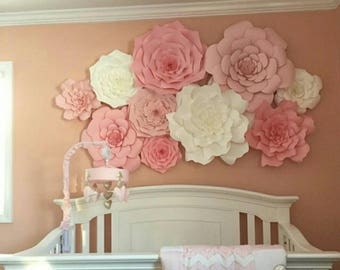 Giant 3D Paper Flower Set, Large Paper Flowers, Nursery Decor, Baby Shower, Photo Backdrop
