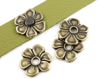 Brass Flower Bead - Antique Brass Oxide TierraCast APPLE BLOSSOM RIVETABLE Bronze Leather Jewelry Supplies Tierra Cast Pewter (ps490)