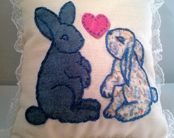 Bunnies in Love Applique Miniature Pillow with Lace Trim