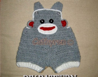 Baby Sock Monkey Overall shorties,Dungarees, Buttons at legs for easy change - INSTANT DOWNLOAD Crochet Pattern