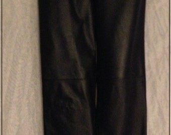 SALE *****Mint 80's black leather 5 pocket pants jeans Lew Magram size 10