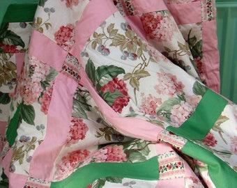 Handmade blanket with hydrangeas