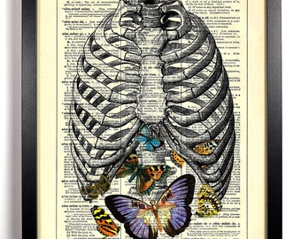 Anatomy Rib Cage Butterflies, Home, Kitchen, Nursery, Office Decor, Wedding Gift, Eco Friendly Book Art, Vintage Dictionary Print 8 x 10 in.