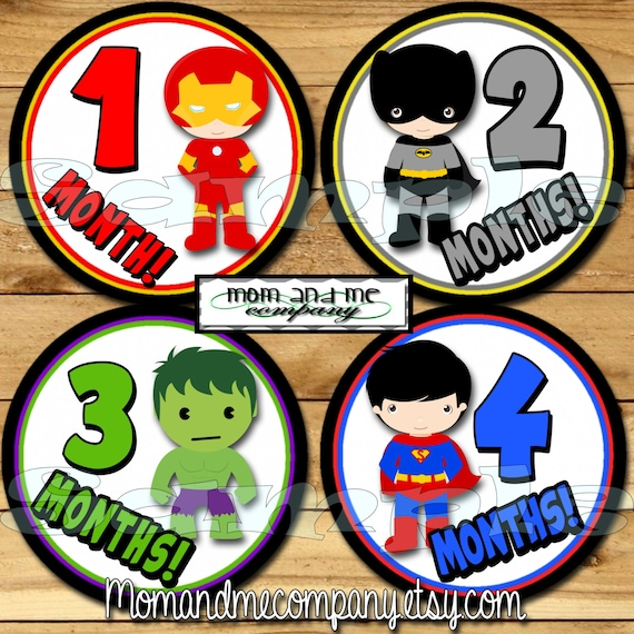 Baby monthly stickers superhero month stickers monthly
