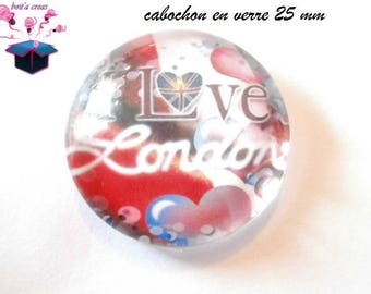 1 cabochon clear 25 mm round London theme