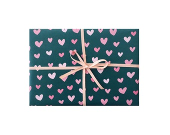 Heart Wrapping Paper, Pink and Green Gift Wrap, Pink and Green Hearts Gift Wrap, Cute Wrapping Sheets
