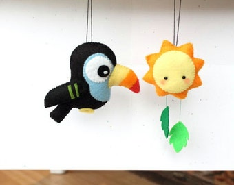 PDF Pattern - Felt Toucan and Sun Ornament