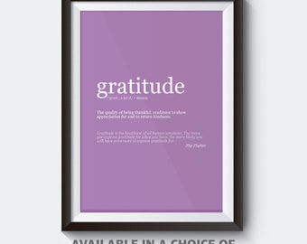 Gratitude Inspirational Quote Wall Art; Digital Download; Choice of Colours; motivational quote poster for successful life values