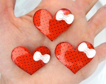 6 pcs - Red Dots Heart and Bow Resin Flatbacks - 31mm - White Bow - Valentines Day - Decoden - Kitsch - Kawaii