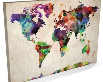 Map of the World Map Watercolour Canvas Art Print, 22x34 inch (749)
