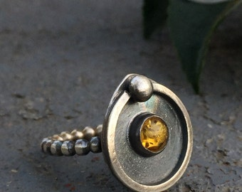 Baltic Amber & Oxidized / Blackened Sterling Silver Ring - Unique Minimalist Artisan Metalwork - Indie Fashion Jewelry Gifts for Her