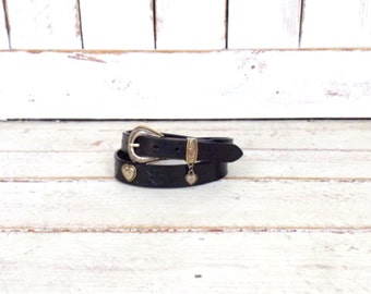 Vintage black tooled leather country western belt/Resistol leather belt/silver/gold heart belt/large