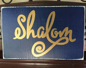 SHALOM Welcome Peace Be with You Jewish Sign Plaque Wooden You Pick Color Chanukah Ḥanukah Ḥanukkah Hebrew