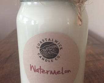 Watermelon Natural Soy Candle / 8 or 16 oz.