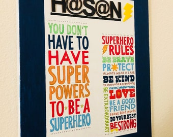 Personalized super hero rules canvas
