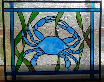 Blue Crab Stained Glass Panel