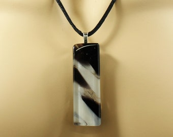 Black & White Fused Glass Pendant Necklace, Stripes of Ivory and Charcoal, Simple Elegant Glass Pendant includes Black Satin Cord Necklace