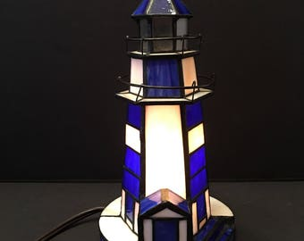 Lighthouse Lamp ~Stained Glass ~ Blue And White ~ Shabby Chic ~ Vintage