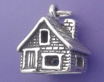 Brick or Stone House Charm .925 Sterling Silver, Cottage, Log Cabin, Dorothys House, Wizard Of Oz Themed Pendant - sc151