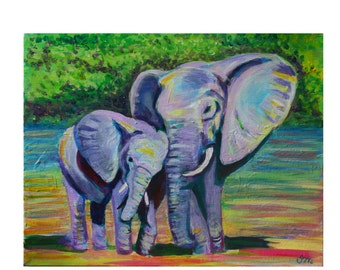 Mama and Baby Elephants- Nursery Art