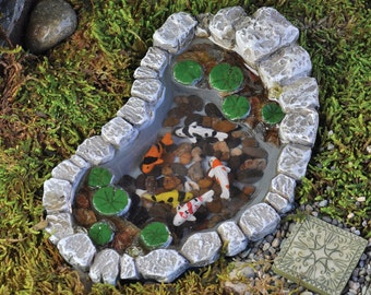 My Fairy Gardens  Mini - Koi And Lily Pad Pond - Miniature Supplies Accessories Dollhouse