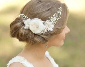Bridal headpiece, Wedding hair comb, Flower hairpiece, Wedding headpiece, Vine hair comb, Vine headpiece, Floral hair comb,