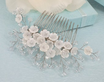 Victoria - Mother  Pearl flower and Swarovski Crystal Bridal Comb