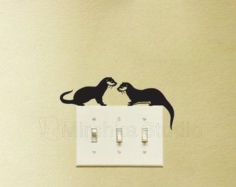 Two Otters Velvet Light Switch Sticker - Otter Laptop Decal -  Cute Wall Art - Nursery Decor -Animal Art - Vinyl Laptop Sticker - Otter Gift