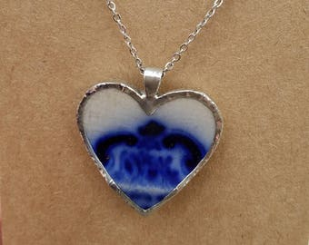 "Flow blue -Alfred Meakin ""Cambridge""- Broken China Jewelry necklace, Mothers Day"