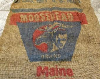 Burlap Sack, Maine Moosehead Potato Sack, Barn and Farm Country Salvage