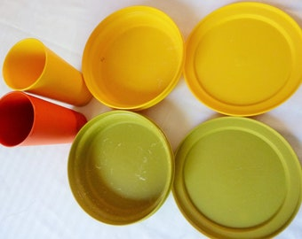 Tupperware Tumblers and Bowls with Lids,  1970's Seal N Serve Harvest Green, Yellow, Orange   16.50