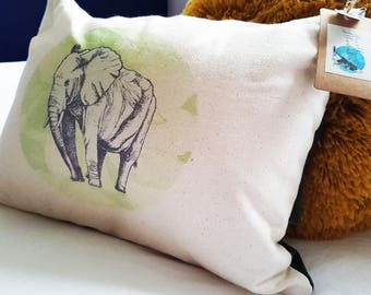 Handmade Savannah Elephant Cushion | Organic Cotton | Matte Velvet | Forest Green | Rustic | Interior