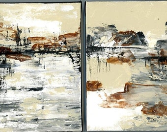 TWO acrylic paintings of landscapes on canvas