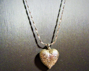 Vintage Sterling Silver Etched Puff Heart Pendant Necklace with Sterling Silver Chain