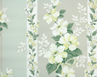 1940s Vintage Wallpaper by the Yard - Yellow and White Flowers on Gray and Green Stripe