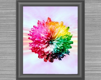 Rainbow Colored Wall Art, Bright Floral Decor Art, Vivid Loft Painting, New Apartment Decor, LGBT, Bright New Home Decor, Gift for Her, Wife