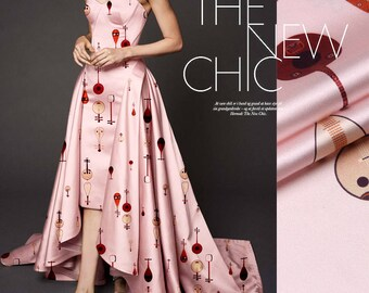 Floral Print Silk Fabric By The Yard Stretch Silk Satin Fabric Fashion Dress Fabric Women Clothing Fabric Skirt Fabric Gown Fabric-SHAONV