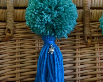 Turquoise and Blue Pom Pom & Tassel Clip-on with Turtle Charm -  Keychain, Beach Bag or Backpack Flair Clip