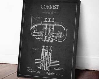 1901 Cornet Patent, Cornet Print, Cornet Canvas Print, Cornet Poster, Wall Art, Home Decor, Gift Idea, MUIN10C